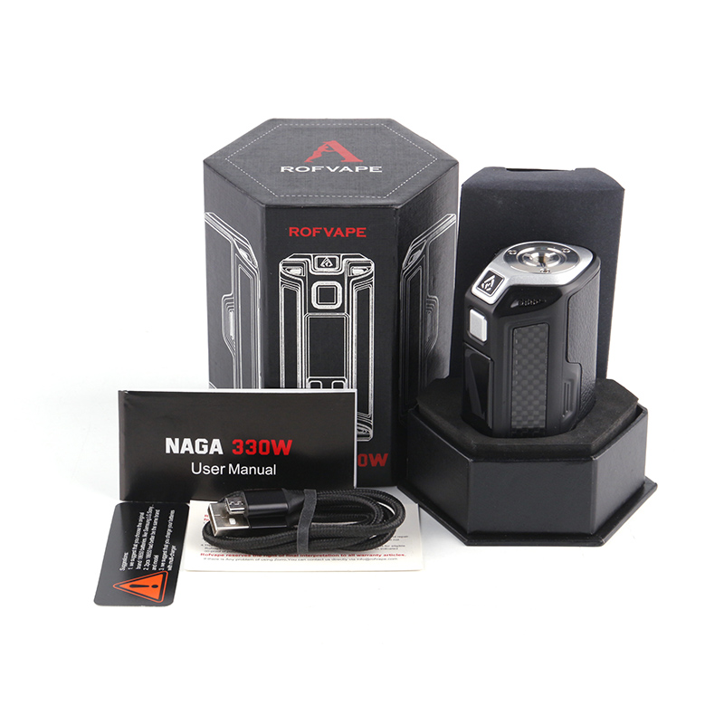 Original Rofvape Naga 330W Mod BYPASS NI TI SS POWER MODE fit 18650 Battery Electronic cigarette mods Temperature Control Vape 2pcs new original lg hg2 18650 battery 3000 mah 18650 battery 3 6 v discharge 20a dedicated electronic cigarette battery power