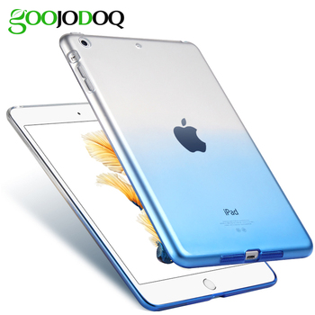 For iPad 2018 9.7 2017 Case Cover Silicone Soft A1822 A1893 GOOJODOQ Gradient Clear Case Slim Shell Cover For iPad 2018 9.7 inch
