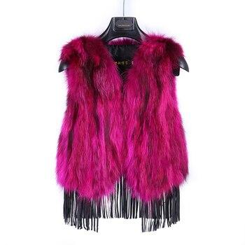 2019 new style fox fur vest raccoon fur short coat Slim fringed vest female