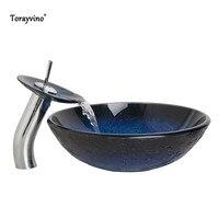 Torayvino Bathroom Waterfall Washbasin Lavatory Tempered Blue Painting Glass Basin Sink Combine Vessel Vanity Tap Mixer