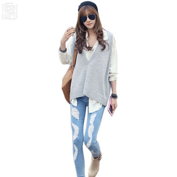 Womens Knitted Wool Big V-Neck Loose Ves...
