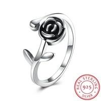 Роза цветочный Регулируемый Кольца Настоящее стерлингового серебра 925 Открытое кольцо Изменение размера PDRSVR164 оптовая продажа женские укр...