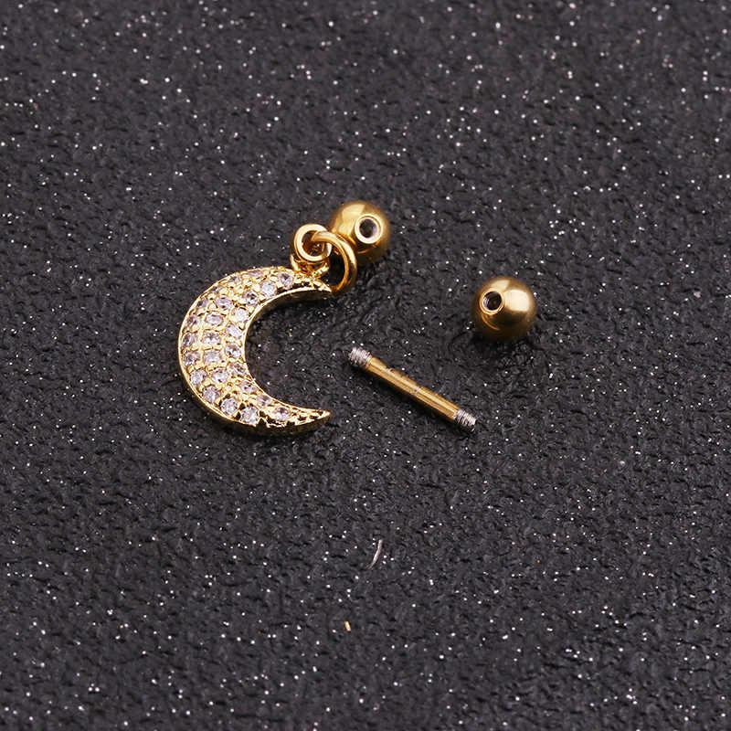 Sellsets 1 pièce couleur argent or Micro cubique zircone acier inoxydable Barbell Tragus Daith Rook Lobe oreille Piercing bijoux