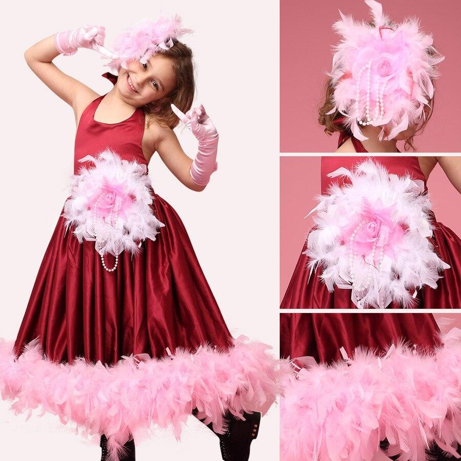Pluma niños bonitos vestidos de niña rojo vino para bodas niña ...
