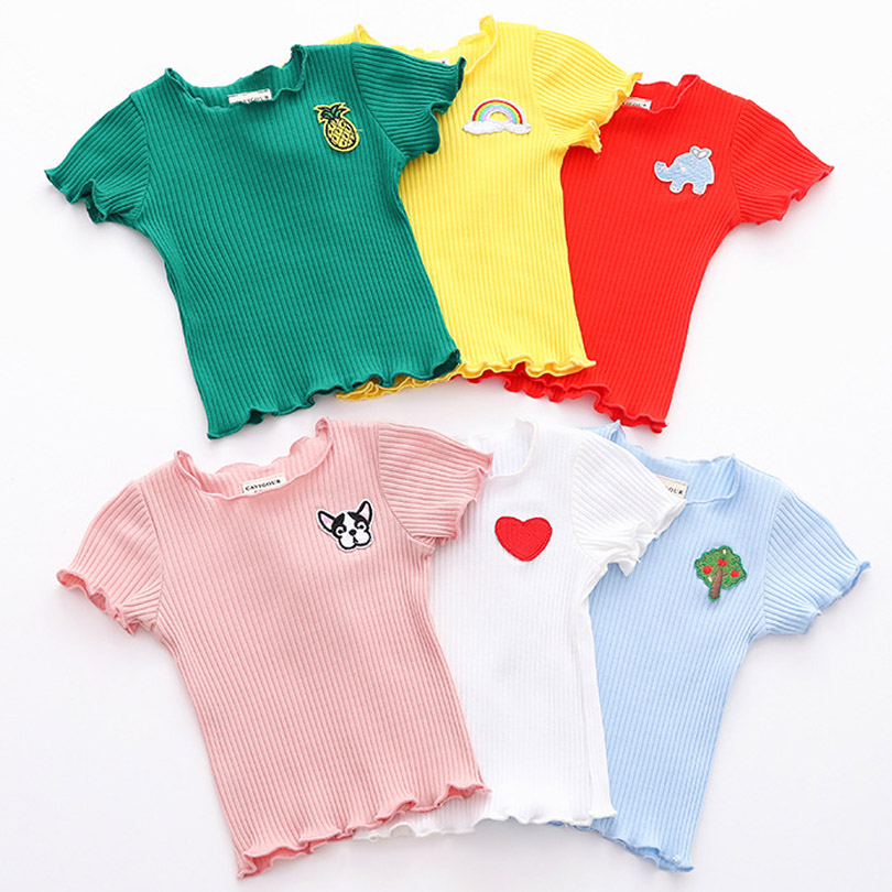 Cotton Brand New Kids Baby Girls Short Sleeve Tops Rib T-shirt Toddler Summer Wave Selvedge Clothes Outfit Embroidery Shirt 1-6Y