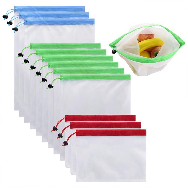 Органические фрукты сумка-кисет для хранения кухонная сетка Еда организовать сумка 70D изогнутые сетки тряпичным мешком овощ-картофель, органайзер, 12 шт
