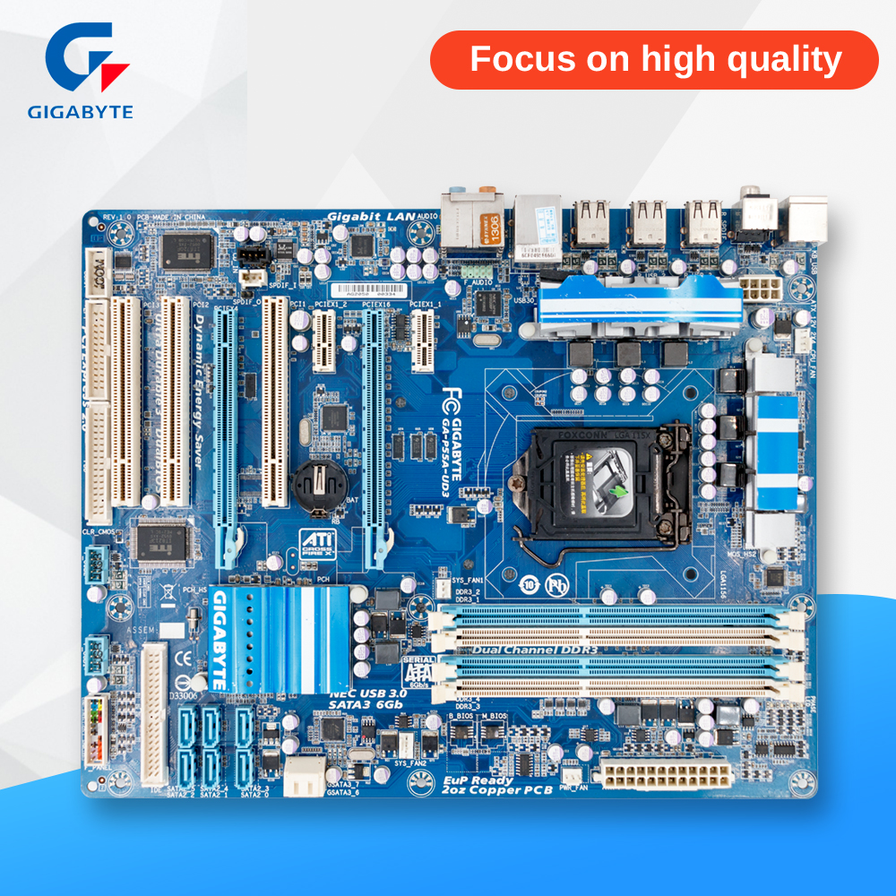 Gigabyte GA-P55A-UD3 Original Used Desktop Motherboard P55A-UD3 P55 Socket LGA 1156 DDR3 ATX On Sale asus m5a78l desktop motherboard 760g 780l socket am3 am3 ddr3 16g atx uefi bios original used mainboard on sale