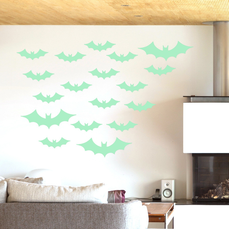 13pcs Green Glowing In The Dark Bat Wall Gl Sticker April Fool S Day Decoration Decals Stickers From Home Garden On