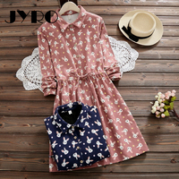 JYRO Brand Mori Women S Dresses New Printing Long Loose Large Size Knee Length Long Sleeved