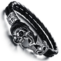 Wholesale NEW Fashion Jewelry Skull Stainless Steel Black Japan Kito Genuine Leather Personality Men Bracelet Male