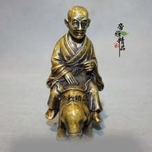 China, El Budismo Bronce Cobre Gild Templo Arhat Monje Buda Ride Estatua Del Elefante SD 506