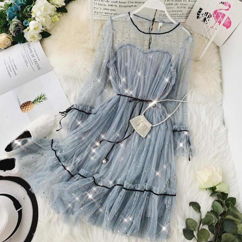 HISUMA spring autumn new women Star sequins gauze flare sleeve lace-up Princess dress female elegant o-neck mesh puff dresses 53