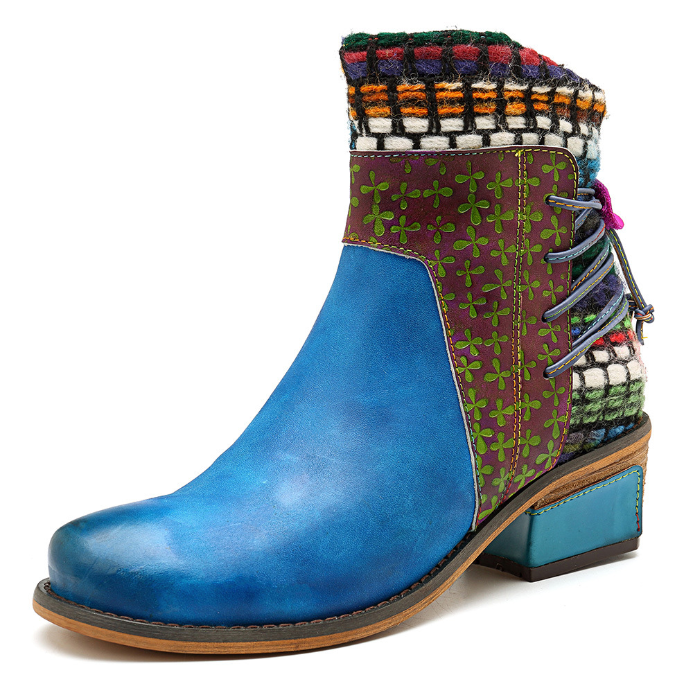Otoño 2019 Tobillo Primavera Botines Zapatos Botas Cuero Correa Flores Mujeres Vintage De Johnature Nueva Genuino Mujer Para Encaje Las Azul qOW6S05c