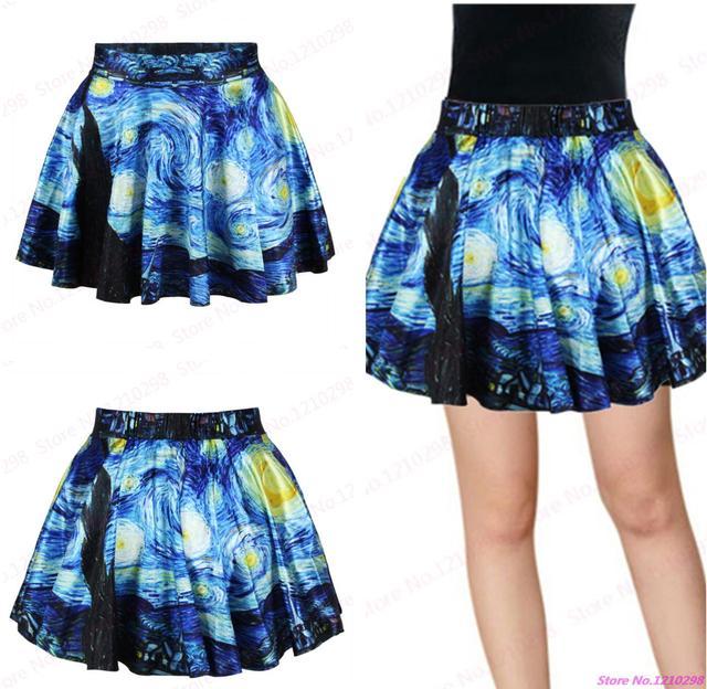 d2867cec0 € 9.22  Vintage Van Gogh noche estrellada impresa minifalda plisada para  mujer Mini falda de tenis de verano faldas ropa deportiva en Faldas de ...