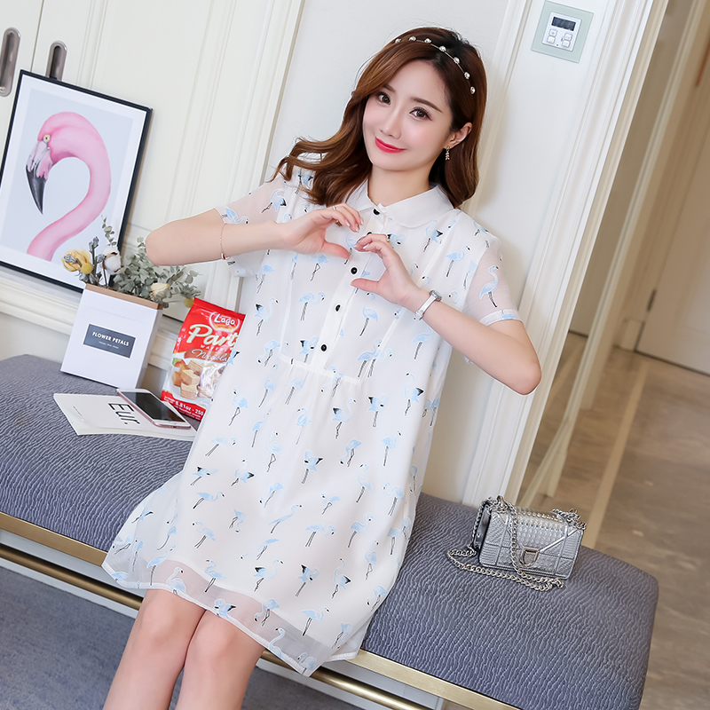 Floral Maternity Clothes Casual Pregnancy Dress Summer Cotton Loose Flower Print Maternity Clothing Of Pregnant Women