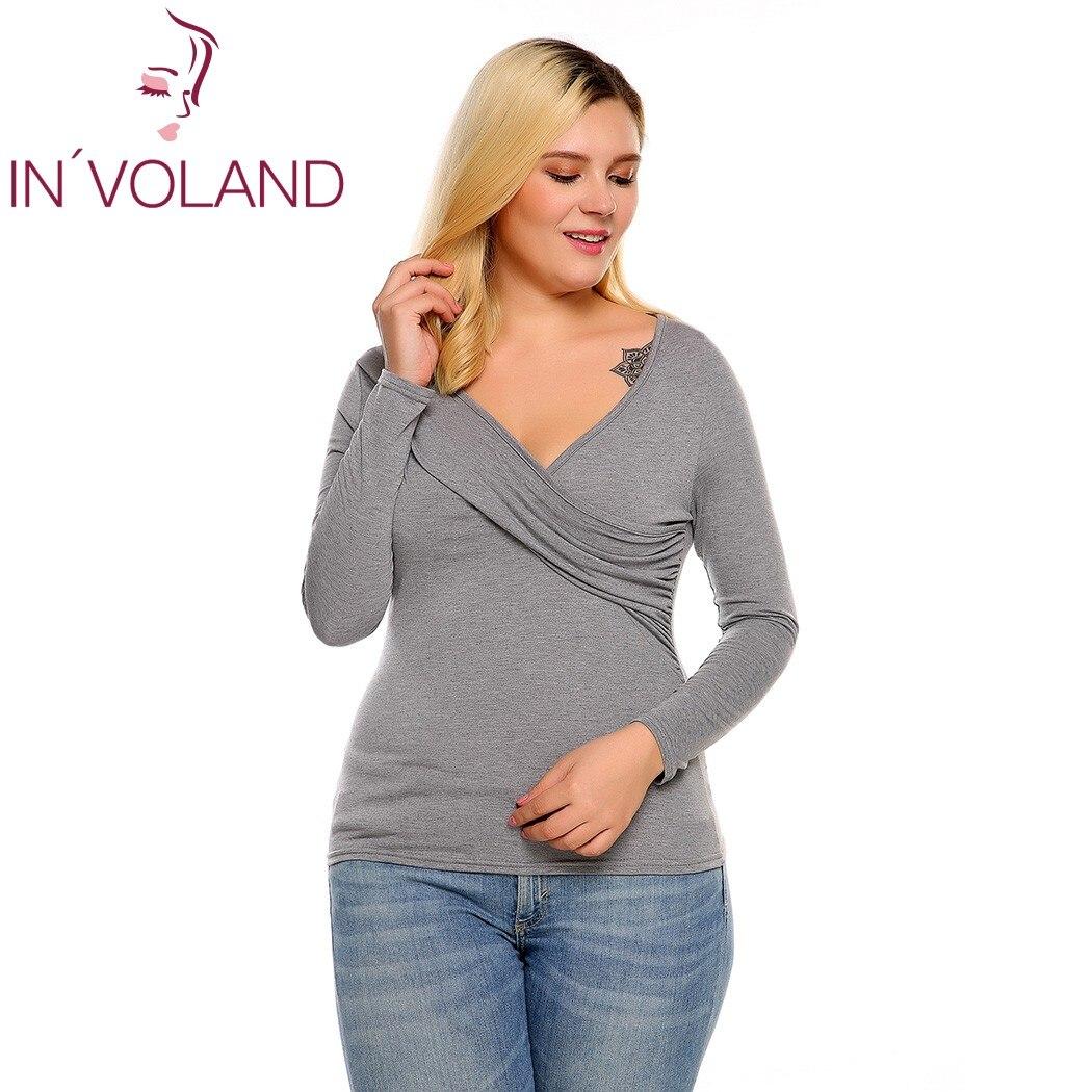 IN'VOLAND Frauen T-Shirts Top Plus Size Frühling Herbst Tiefem - Damenbekleidung - Foto 4