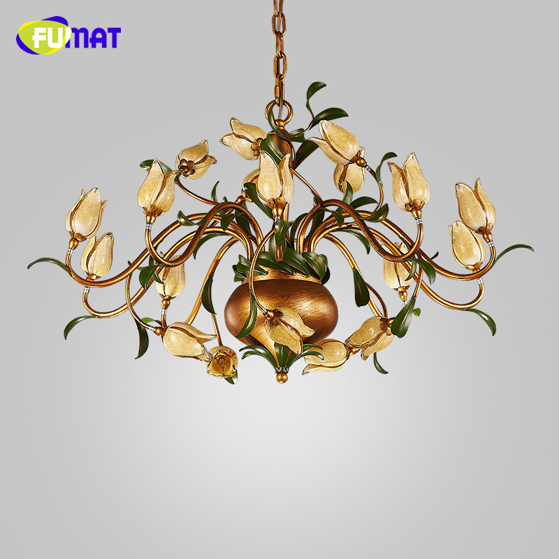 FUMAT Creative Fashion Chandelier Dining Room European Style Pastroal Brief Modern Flower Glass Shade Lightings LED Chandeliers