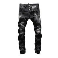Европейские американские джинсы повседневные известные бренды мужские узкие джинсы джинсовые штаны и пуговицы черные штаны карандаш с отв