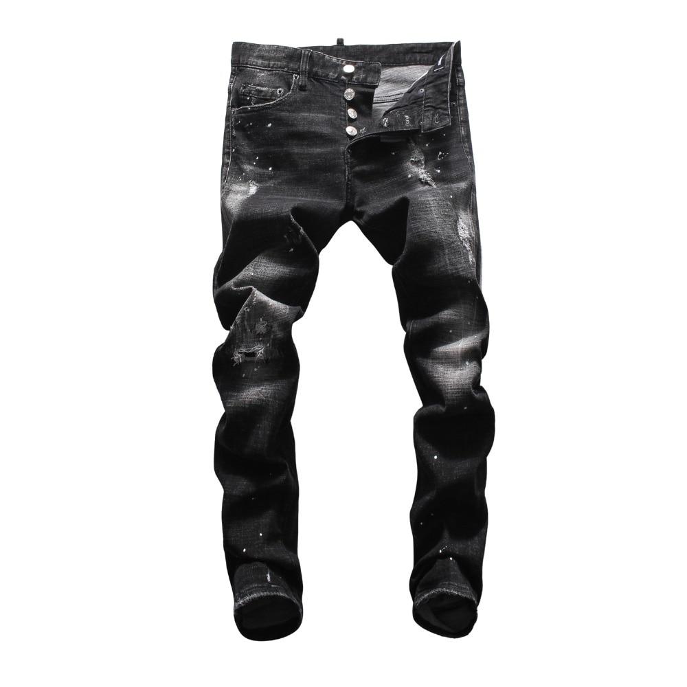 European American Jeans Casual Famous Brand Jeans Men Slim Denim Trousers Button Black Hole Pencil Pants Brand Jeans For Men