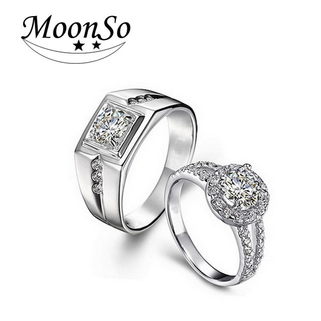 fad4c443ed Moonso 925 Sterling Silver Rings Zircon cz For Couple Ring Lovers Couples  Wedding Promise Rings Set