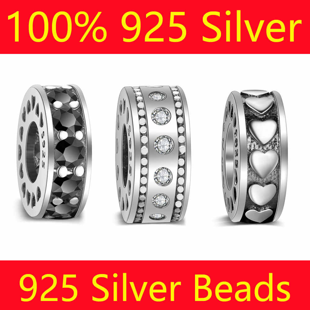 100% S925 Sterling Silver Spacer Bead Charms Vnistar Wholesale Heart CZ Zircon DIY 925 Silver European Bead Charms
