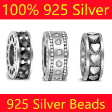 100% S925 Sterling Silver Spacer Bead Charms Vnistar Wholesale Heart CZ Zircon DIY 925 Silver European Bead Charms(China)