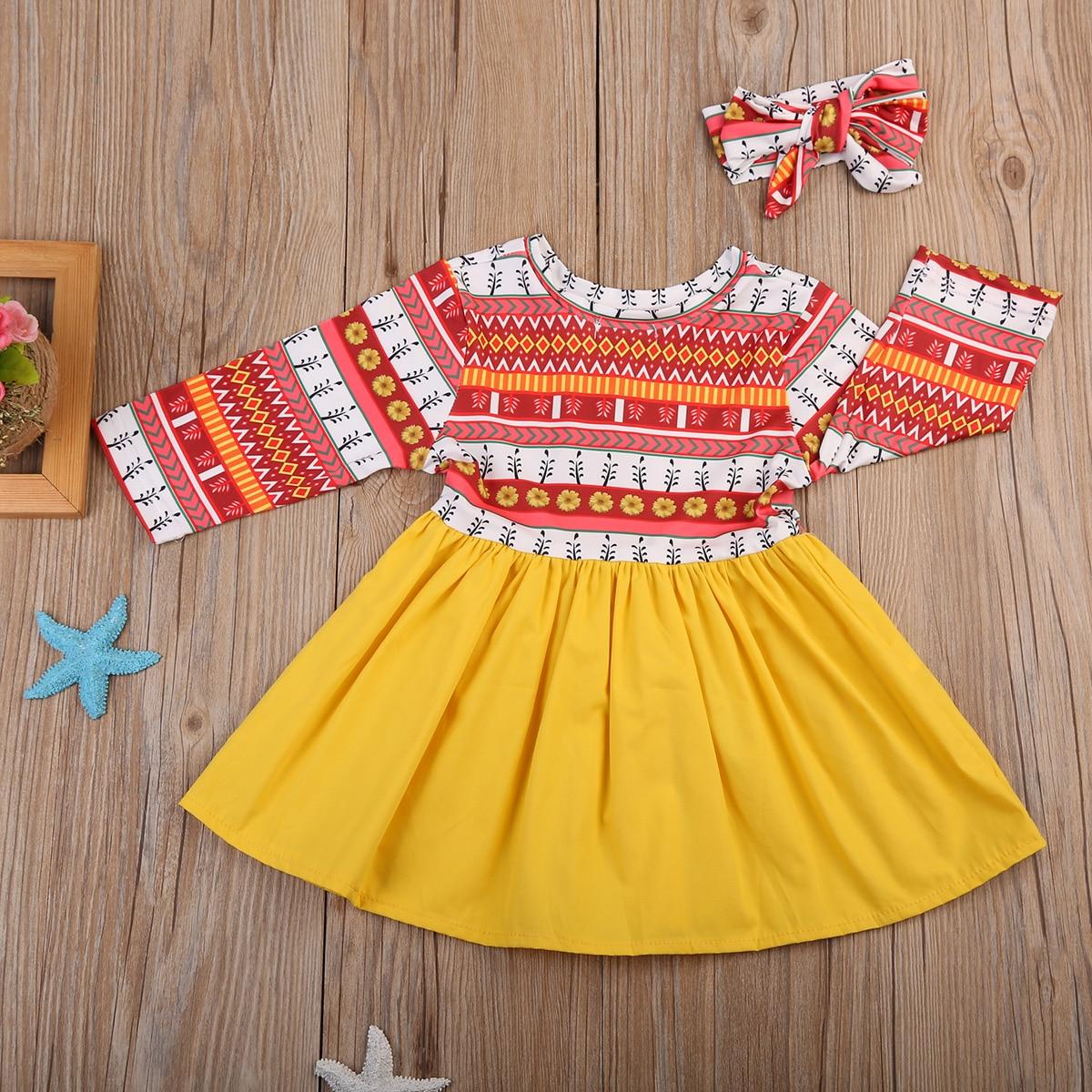 Kleinkind Neugeborenes Sommer Langarm Exotische Gelb Kleid ...