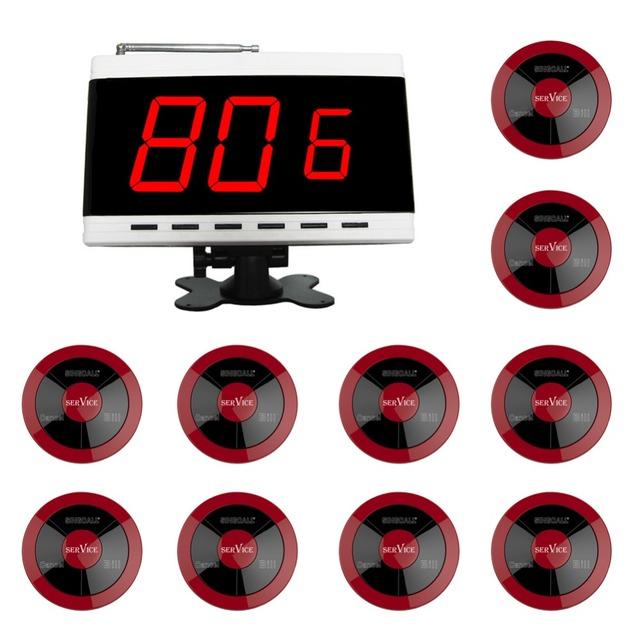 SINGCALLWireless Garçom Chamando System, três-botão Pager, Nenhum Parafuso Pager de 360 Graus À Prova D' Água, Pacote de 10 Pagers e 1 Receptor