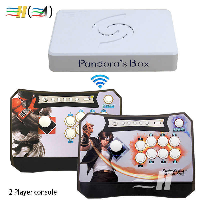 Kotak Pandora 6 1300 Di 1 Nirkabel Pertarungan Arcade Stick Arcade Controller Bagian untuk PC PS3 TV Arcade Controller 2 pemain Konsol 3D