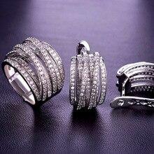 แหวนเจ้าสาวสำหรับผู้หญิงอุปกรณ์เสริมโรเดียมเงินสี Luxury Zircon Anillos