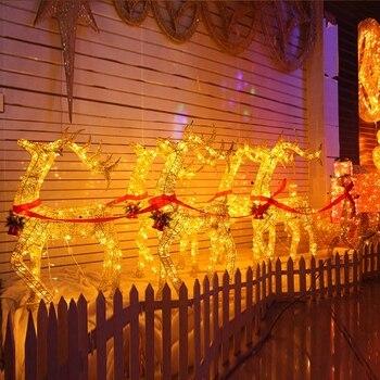 kerst herten pull winkelwagen ijzer herten set maaltijd slee winkelwagen elanden kerst decoraties voor huis leds verlichting kerst ornamenten
