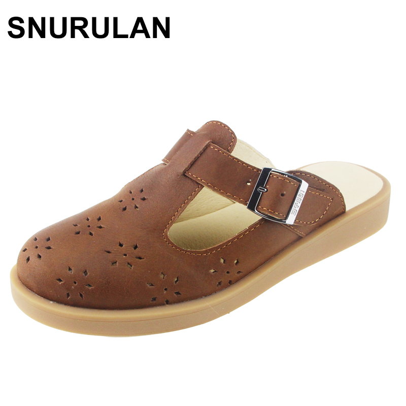 SNURULAN Woman Casual Slip on flat slippers Shoes Hollow out Breathable Summer Loafers 100% Authentic Leather Ladies Shoes xq new breathable cloth shoes fashion women hollow out summer casual shoe air mesh flat shoes sandals non slip ladies shoes s102