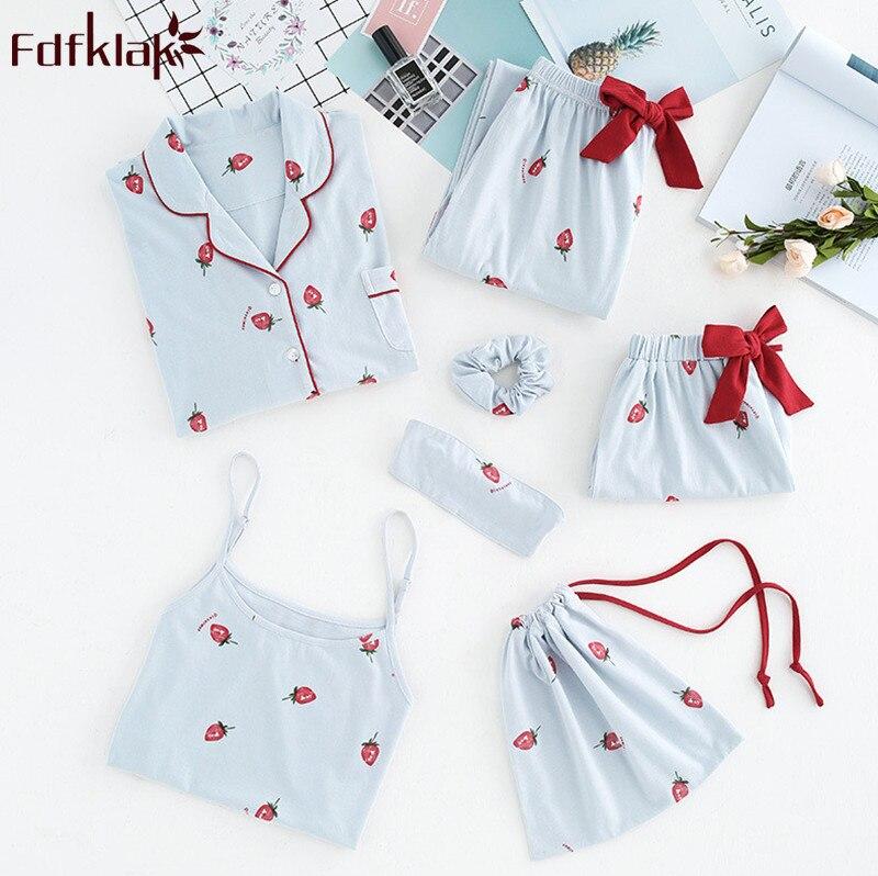 Fdfklak Pijama feminino new 7 pieces cotton   pajamas   women spring summer   pajama     set   print women's sleepwear pijama pyjama femme
