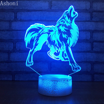3D Wolf  Shape Table Lamp LED Touch 7 Color Changing Night Light Party Decorative Home Decor Kids Christmas Gift 3d visual 7 color changing libra shape touch led night light