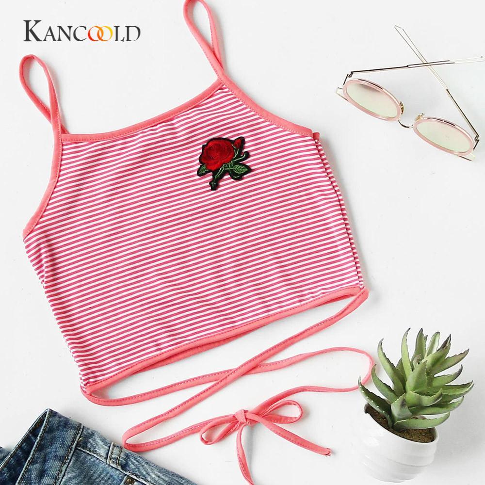 KANCOOLD   tank     tops   cropped Short crop   top   hoodie Women Fashion Sexy Appliques Rose Sleeveless   Tanks   & Camis   Tops   Blouse JAN19