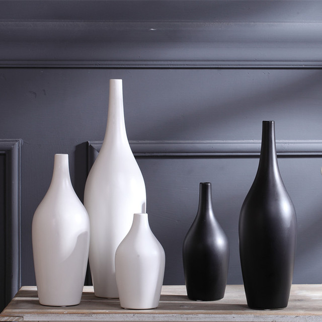Wine Rack White Black Ceramic Creative Contracted Flower Vase Pot