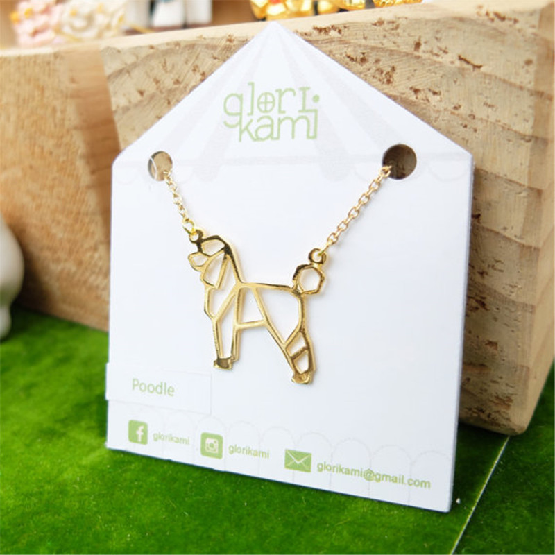 Wholesale Trendy Gold Color Silver Color Poodle Necklace Women Origami Statement Necklace Pet Jewelry Kolye Cs