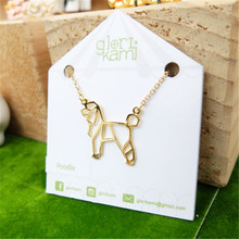 Wholesale Trendy Gold Color Silver Color Poodle Necklace Women Origami Statement Necklace Pet Jewelry Kolye Cs Go Collares