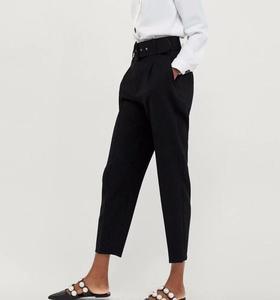 Image 5 - Stiruuna cintura alta senhora do escritório com cinto calças femininas causal preto harem calças com faixas elegante senhora calças cores leggings