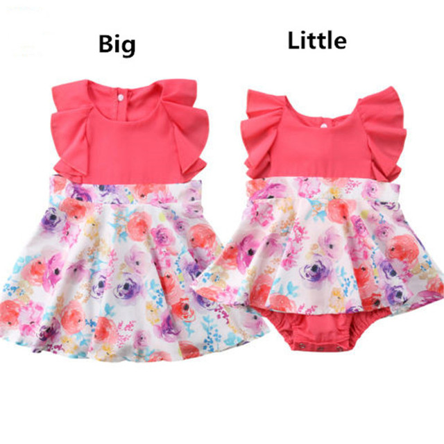 1762e2709e0fa US $6.68 |Big/Little Sister Clothes Set Summer Kid Baby Girl Little Sister  Romper Big Sister Floral Printed Dress Outfits Baby Clothes Set-in Matching  ...