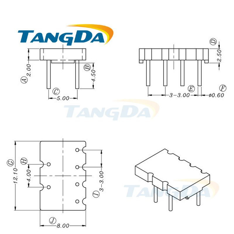 Tangda bobbin base holder 12.1*8 mm 2+4pin 6p transformer Common mode Choke Ferrite bead Inductor phenolic skeleton 6 amp 3 9mh epoxy resin embedding common mode choke inductor
