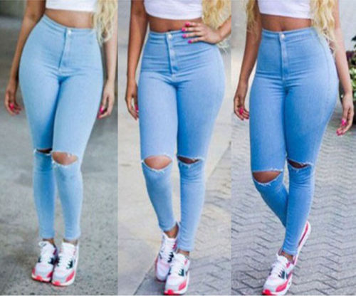 hirigin 2017 Women Skinny Ripped   Jeans   Hole High Waist Stretch   Jeans   Slim Hollow Out Pencil Denim Trousers