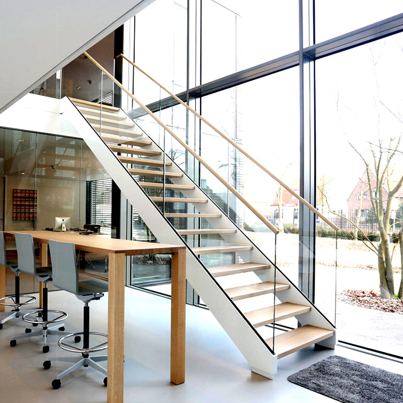 Cheap Price Double Stringer U Shaped Tempered Glass Railing Wood | Glass Railing For Stairs Price | Curved Glass Balustrade | China | Spiral Staircase | Frameless Glass | Cable Railing