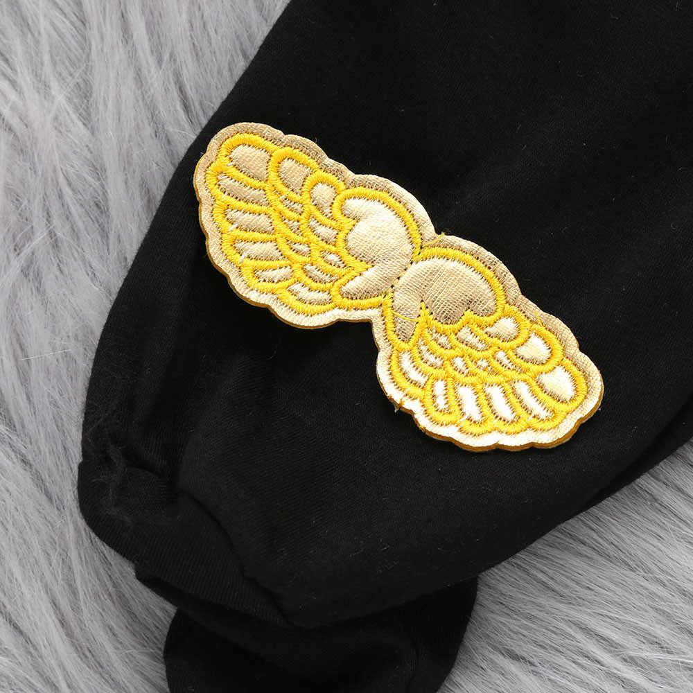 """Для младенцев, для маленьких мальчиков и девочек с нашивкой в виде надписи """"Ангел комбинезон с крылышками Детские комбинезоны ребенок малыш детская одежда чёрного цвета Детская одежда Menino"""