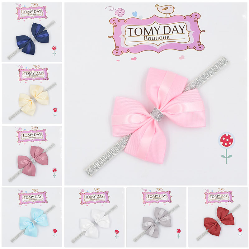 12 color new Baby hair bow flower Headband Silver ribbon Hair Band Handmade DIY hair accessories for children newborn toddler new baby hair bands flower headband newborn girls hair band headwear handmade diy hair accessories children photography props