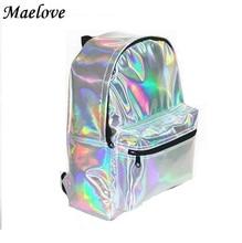 Maelove Hot ! women-bag Hologram Bag Backpack female Laser Silver Bag Student's School Backpack shoulder bag Free Shipping