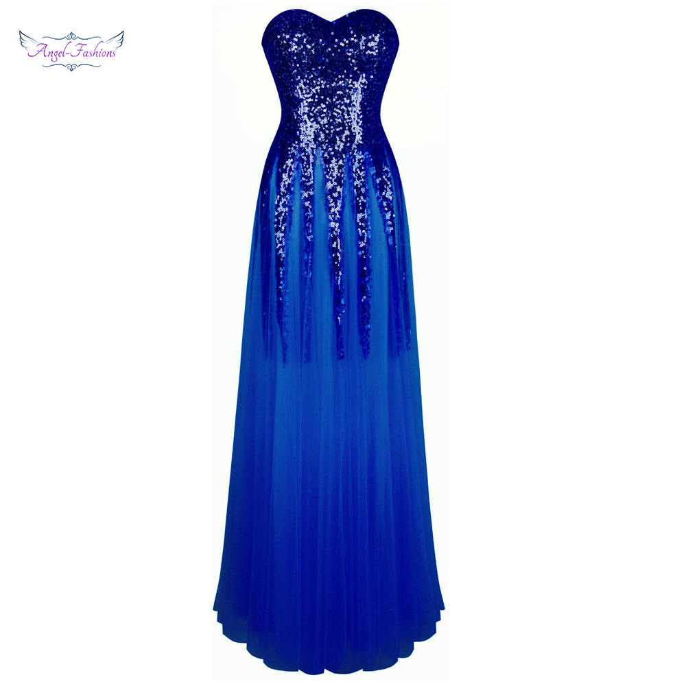 Angel-fashions Women's Sweetheart Sequin   Evening     Dresses   Lace Up Illusion Hochzeit Party Gown Blue 106