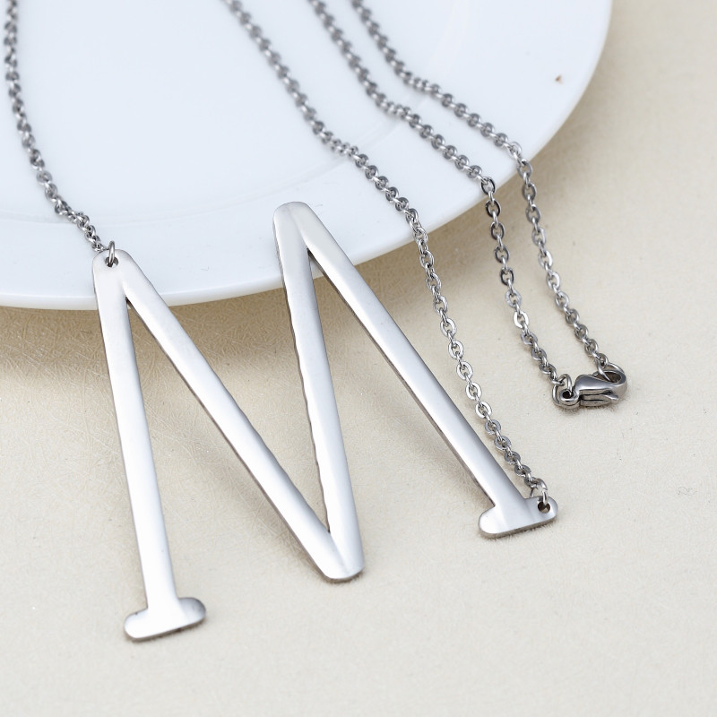 Minimalist Name Necklace Choker Chain Alphabet Personalized Monogram Jewelry Bridesmaid Gift Silver L M N O P Letter Necklace