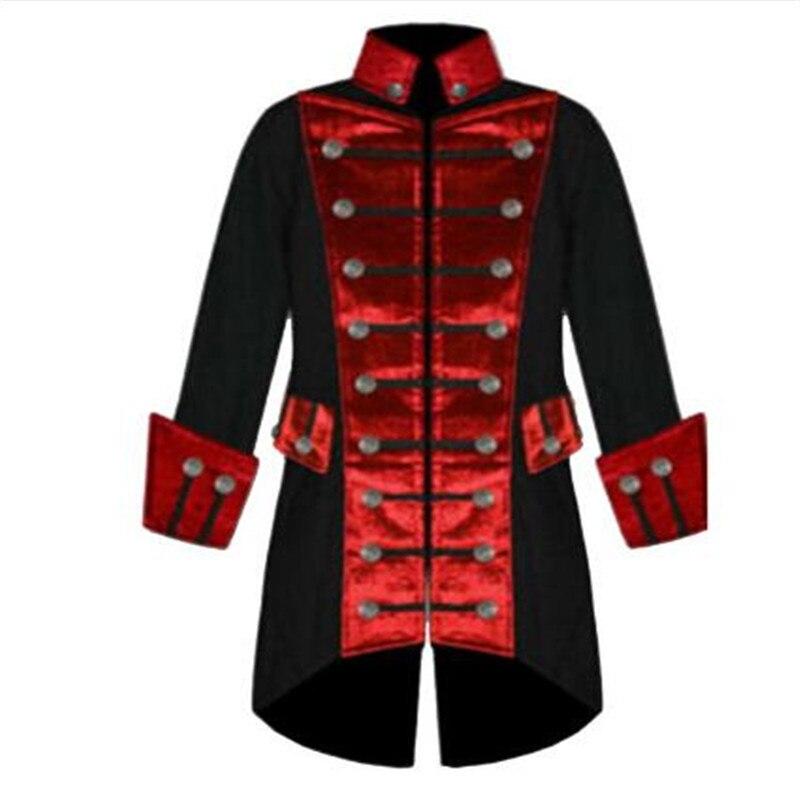 Plus la Taille Manches Longues Halloween Tranchée Hommes Manteau Mode Velours Garniture Steampunk Hommes Veste Vintage Gothique Brocade Veste