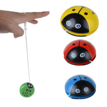 Hot 1Pc 3 Colors Ladybird Ball Creative Toys Wooden Yoyo Toys For Children Baby Educational Hand-Eye Coordination Development(China)